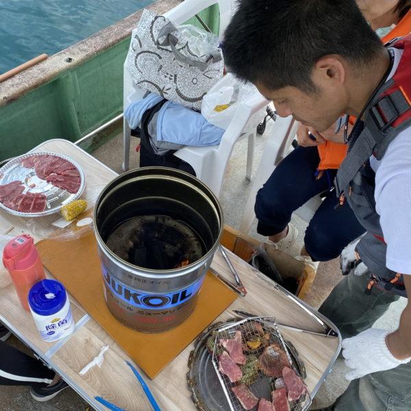 こだま渡船 船上バーベキューの様子 2021/6/13